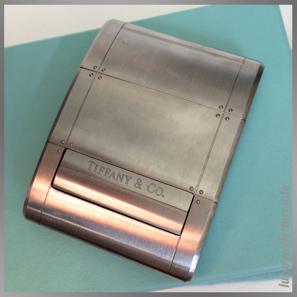 Tiffany & and Co. Streamerica Stainless Steel Metrozone Travel Alarm Clock Time Desk Closed Lid
