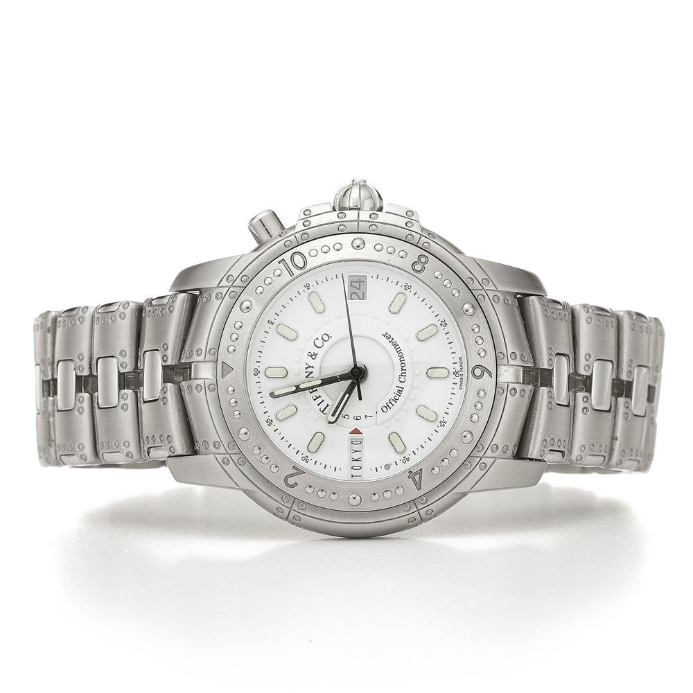Tiffany & Co. Streamerica World Time Watch in Stainless Steel Band
