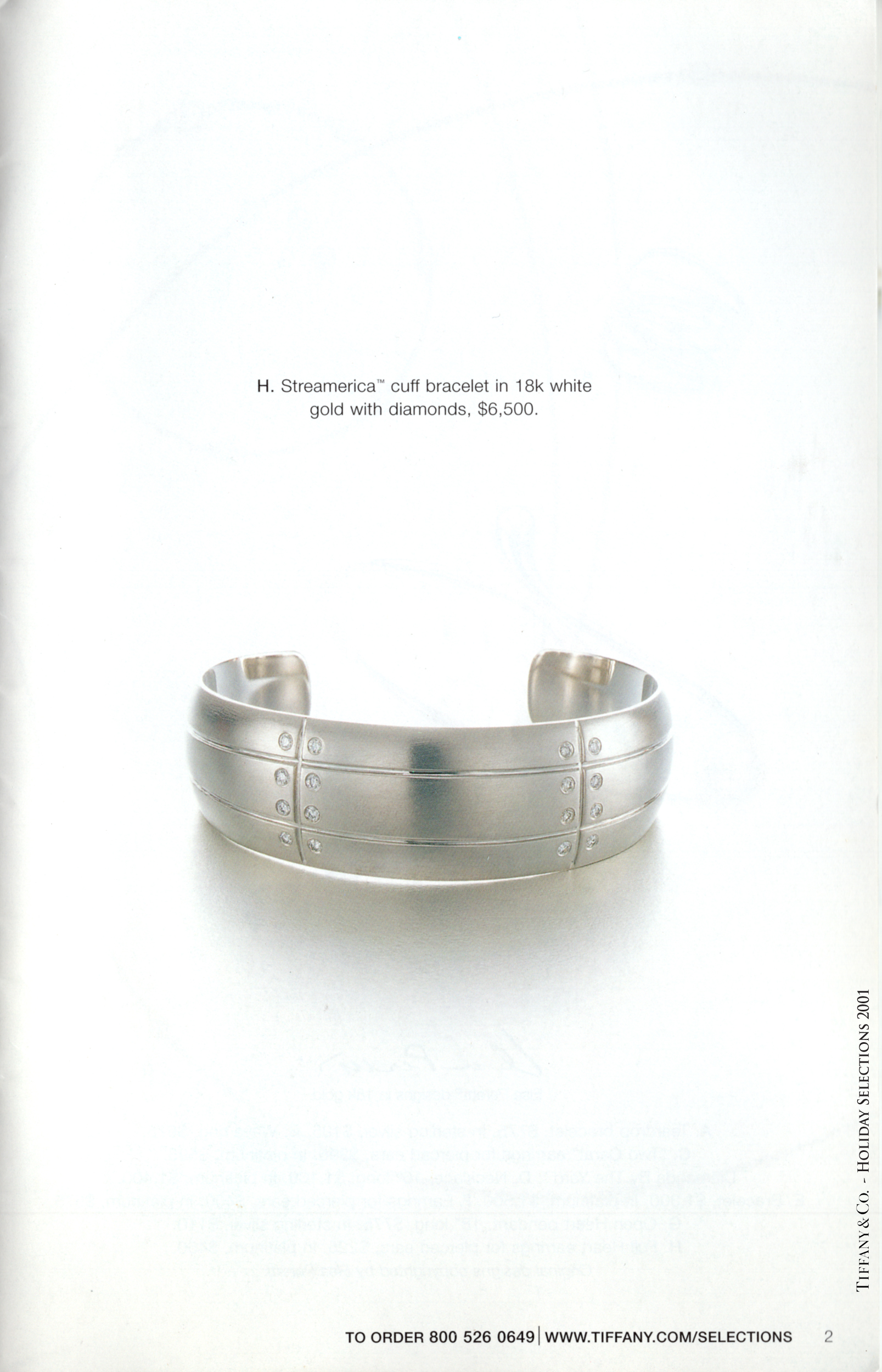 Tiffany & and Co. Streamerica 18k 750 White Gold Diamonds Wedding advertisement Catalog Prices Wide Cuff