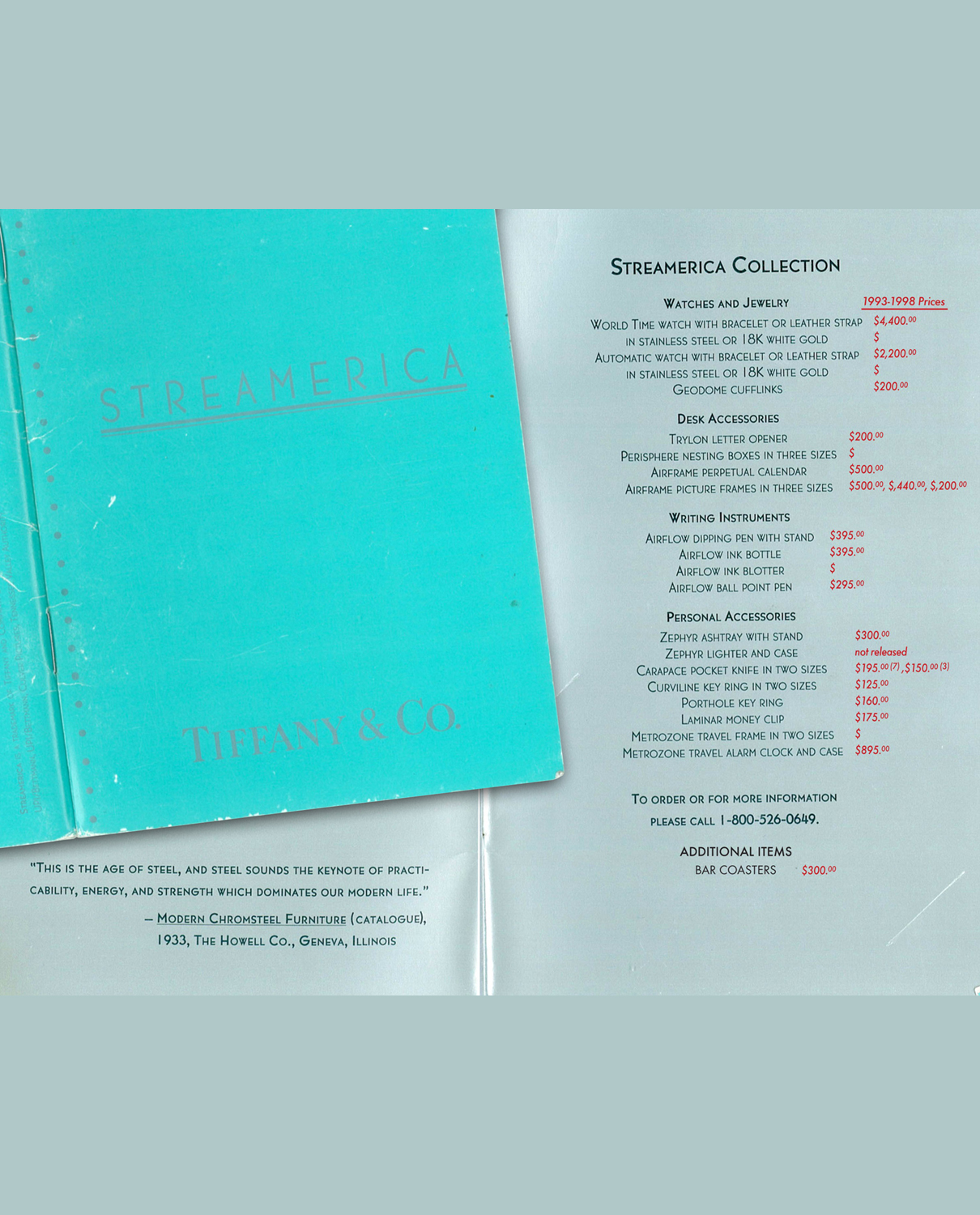 The backpage of the 1993 Streamerica Catalog listing the complete line of Accesories by Tiffany & Co. retail prices List