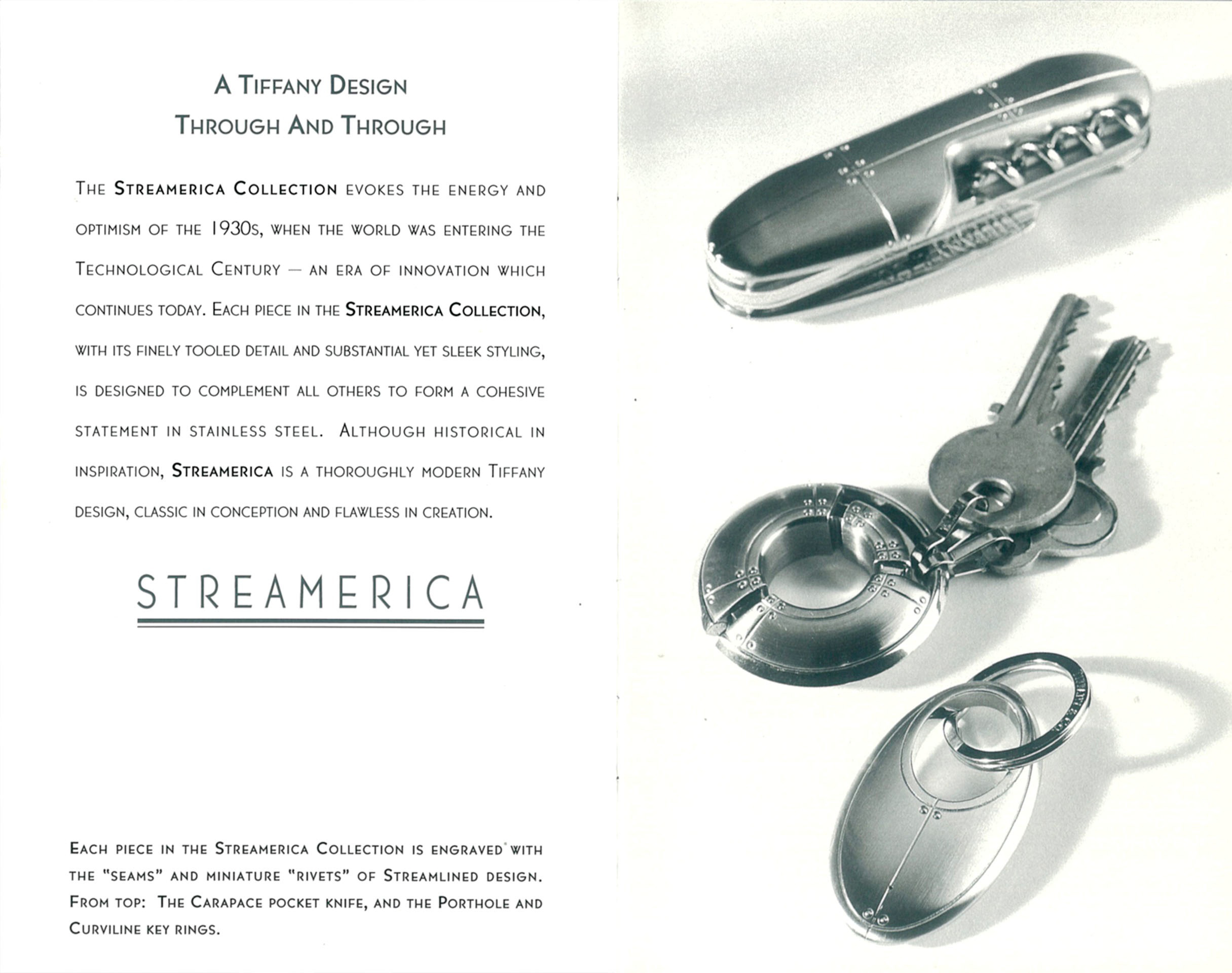 Tiffany & Co. Streamerica Stainless Steel Collection Advertisements Catalog Key Ring Curviline Porthole Carapace Pocket Knife