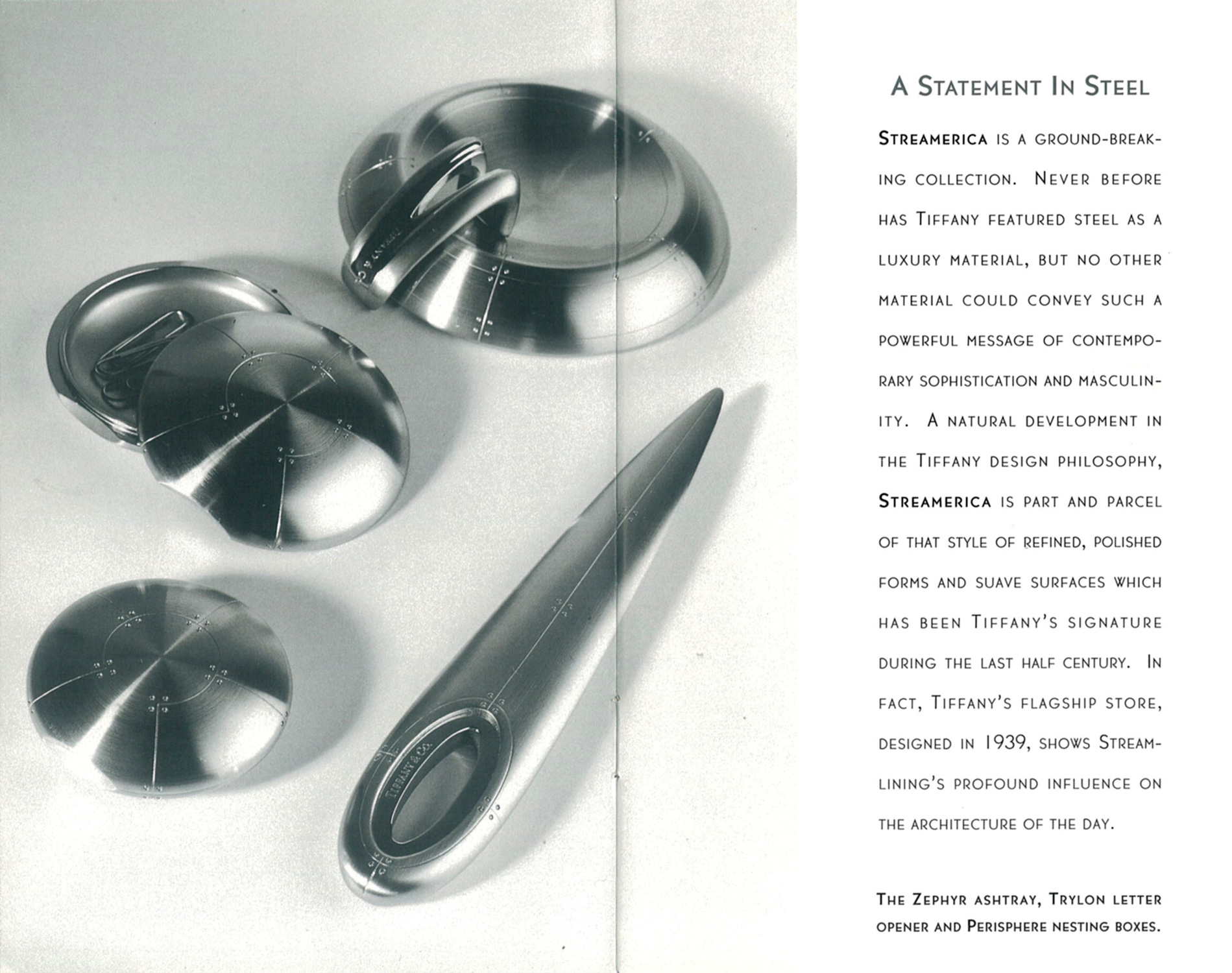 Advertisement 1993 A Statement in Steel Tiffany & and Co. Streamerica Stainless Steel Zephy Ashtray Home Collection Trylon Letter Opener Perisphere Nesting Boxes