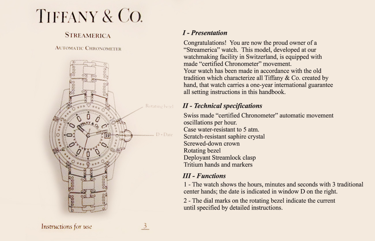 Recreation of a page from instruction manual Tiffany Streamerica Automatic Chronometer Tech specs