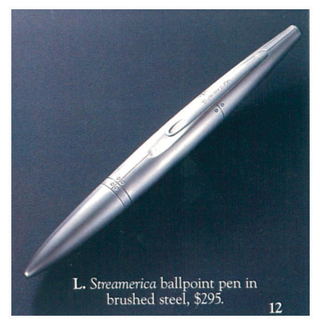 Advertisement Blue Book Streamerica Tiffany & and Co. Airfflow Ballpoint Pen Stainless Steel 1993 Price 1