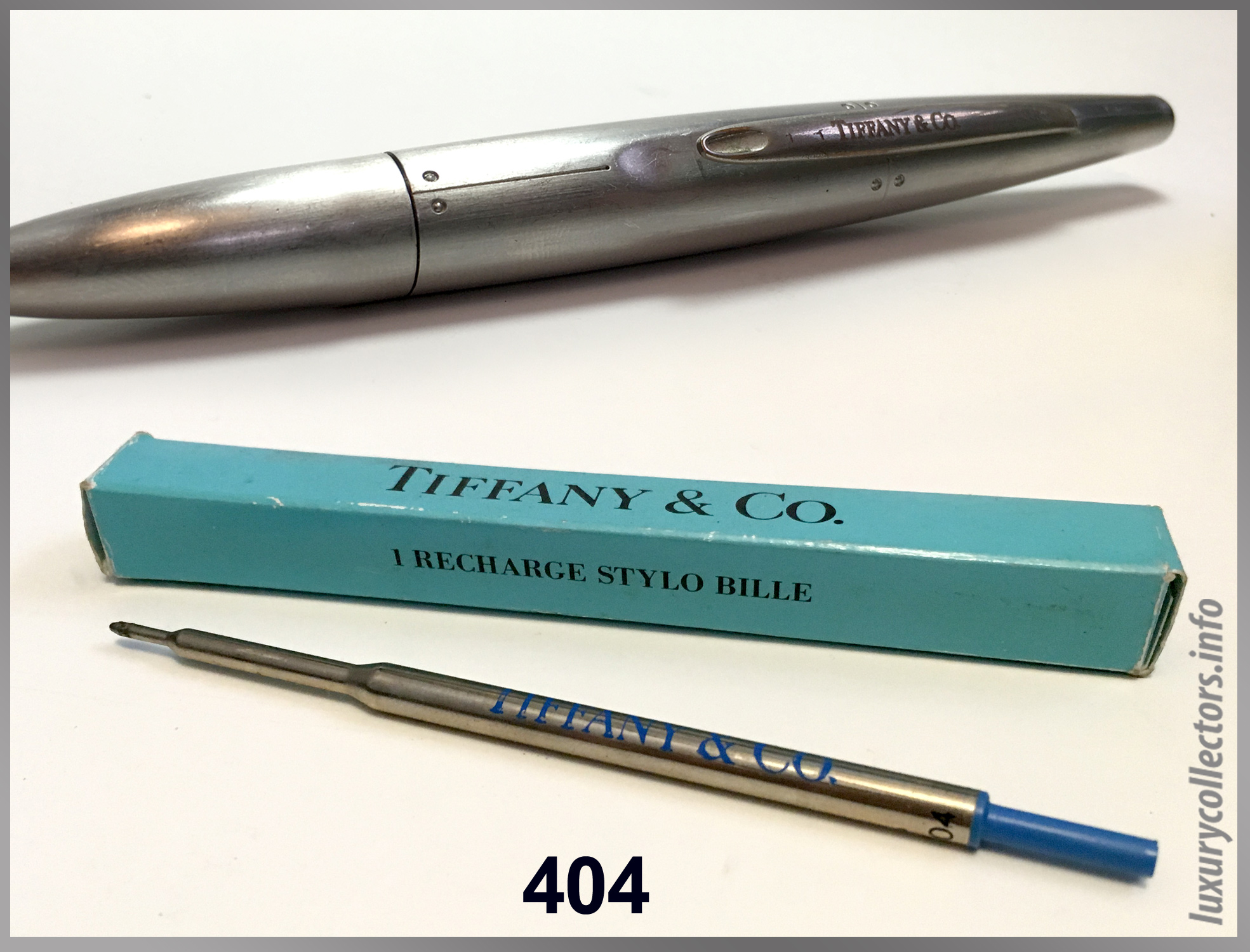 Recharge Stylo Bille 404 Streamerica Tiffany & and Co. Airfflow Ballpoint Pen Stainless Steel 1993 Collection Refill #404