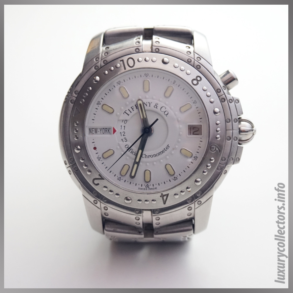 white dial face Streamerica World Time Automatic Chronometer Watch, Tritium hands markers Tiffany and Co.