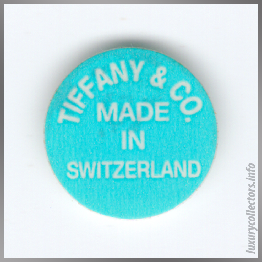 The original Tiffany & Co. Made in Switzerland sticker that came with almost every piece in the Streamerica stainless steel line.