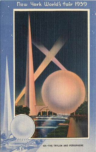 Postcard Linen from New York World's Fair of 1939 featuring the Trylon Obelisk and Perishphere Walkway Land of Tommorrow