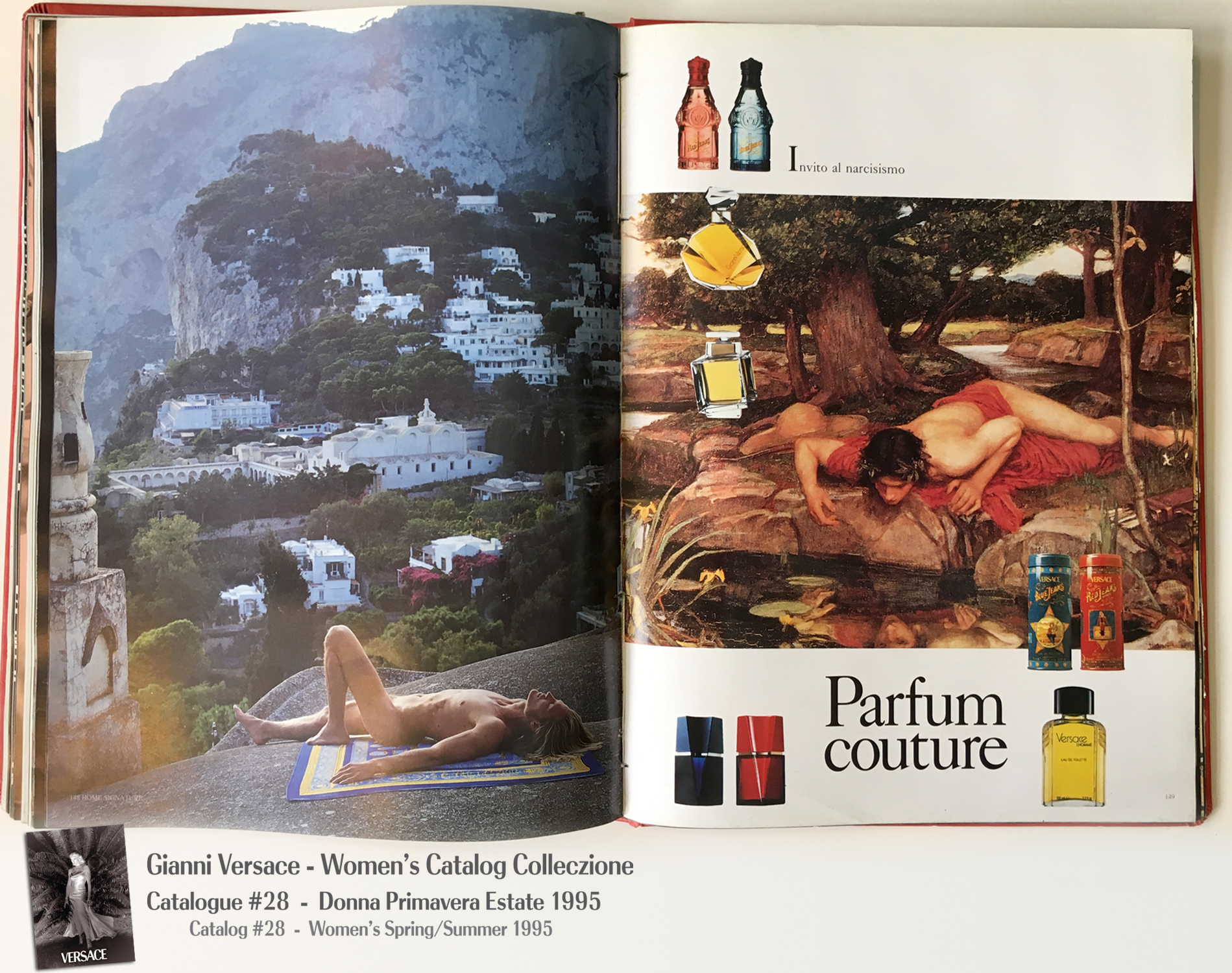 Profumi Perfume Capri Naked Male Model Towel Gianni Versace Donna Collezione Primavera Estate Woman's Spring Summer Madonna Catalog Fashion Supermodels #28, 1995