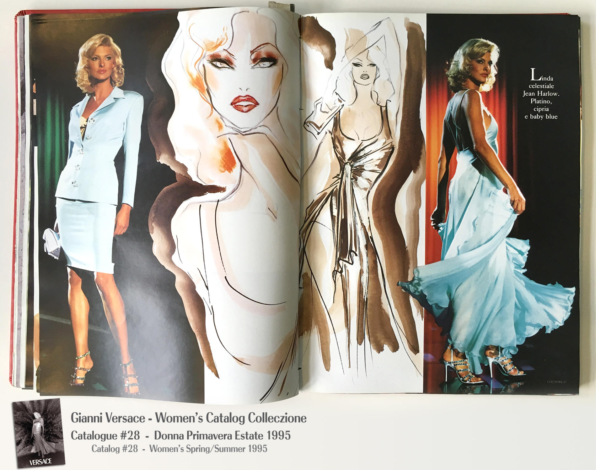 Linda Evangelista Gianni Versace Donna Collezione Primavera Estate Woman's Spring Summer Thierry Perez Runway Models Catalog Fashion Supermodels #28, 1995