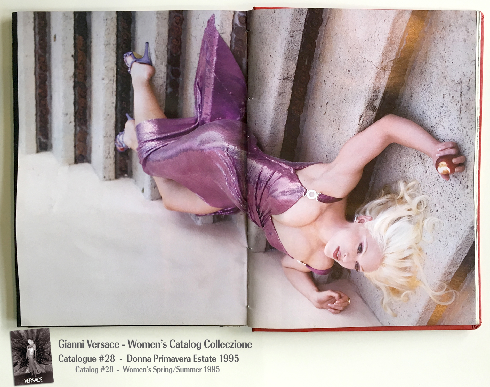 Poison Apple Snow White Purple dress Stairs fallen Steven Meisel Gianni Versace Donna Collezione Primavera Estate Woman's Spring Summer Madonna Catalog Fashion Supermodels #28, 1995