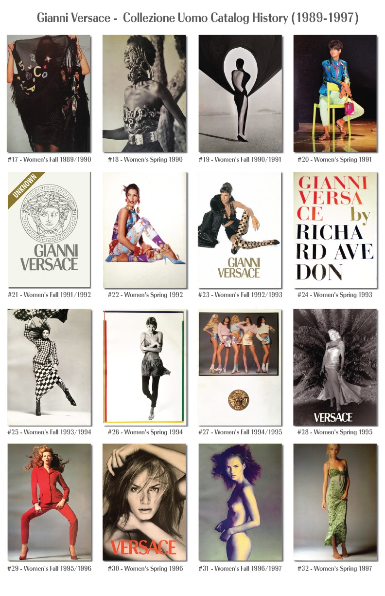 Gianni Versace Fashion Catalog Covers History Donna Woman's 1989 - 1997 Models Photography supermodels 90's