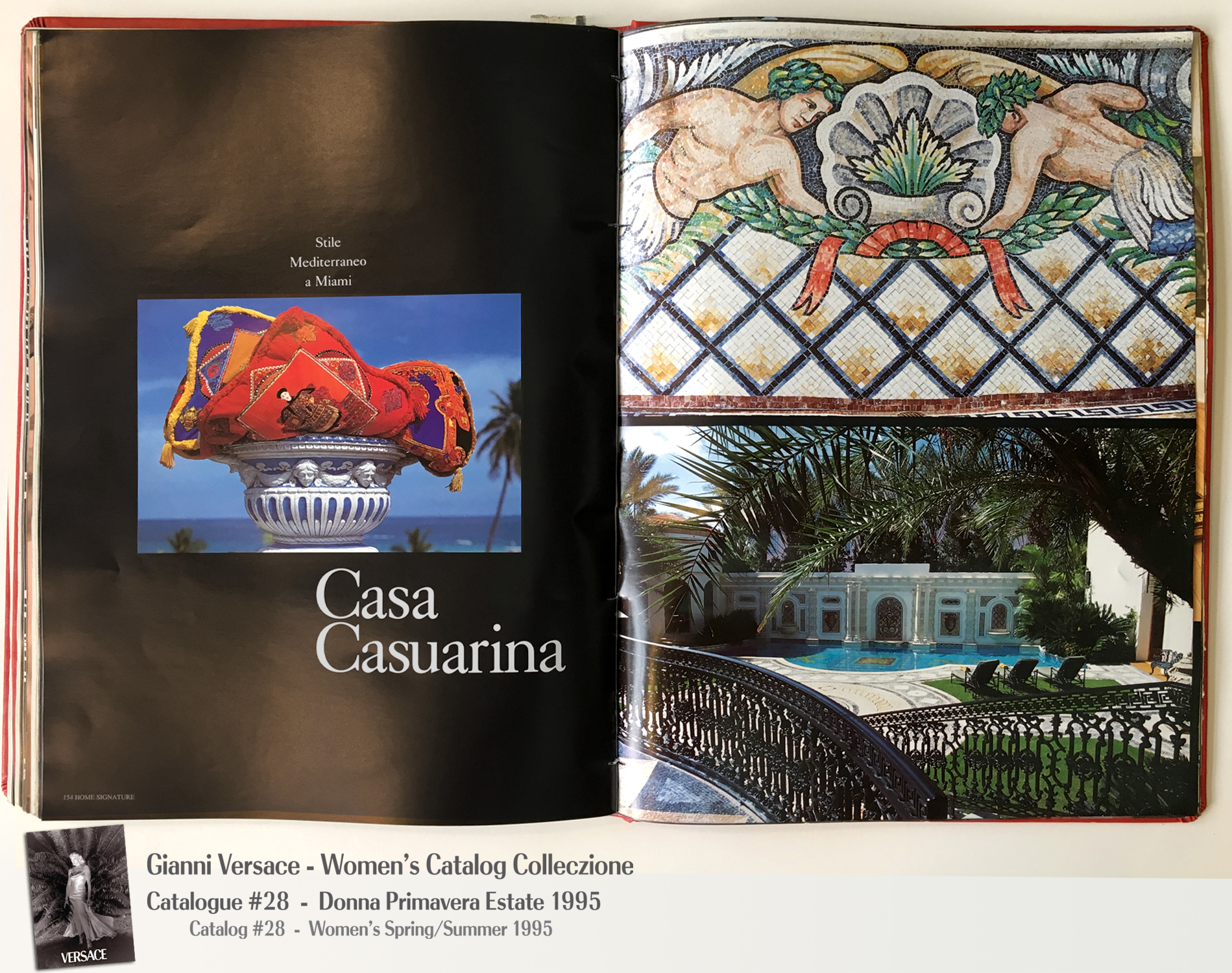 Casa Casuarina Mansion South Beach Book Murder Pool Mosaics Gianni Versace Donna Collezione Primavera Estate Woman's Spring Summer Madonna Catalog Fashion Supermodels #28, 1995