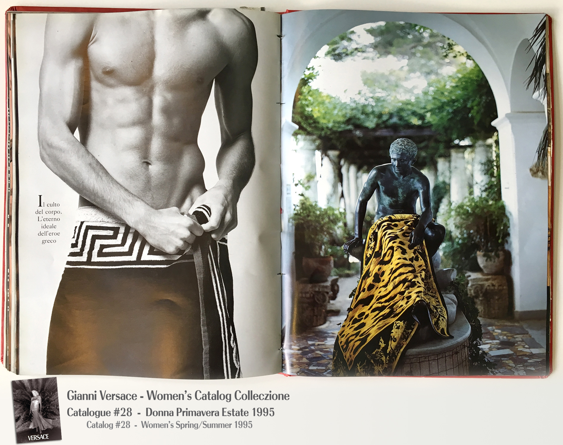 Male Model Towel Naked Greek Key Leopard Capri Gianni Versace Donna Collezione Primavera Estate Woman's Spring Summer Madonna Catalog Fashion Supermodels #28, 1995