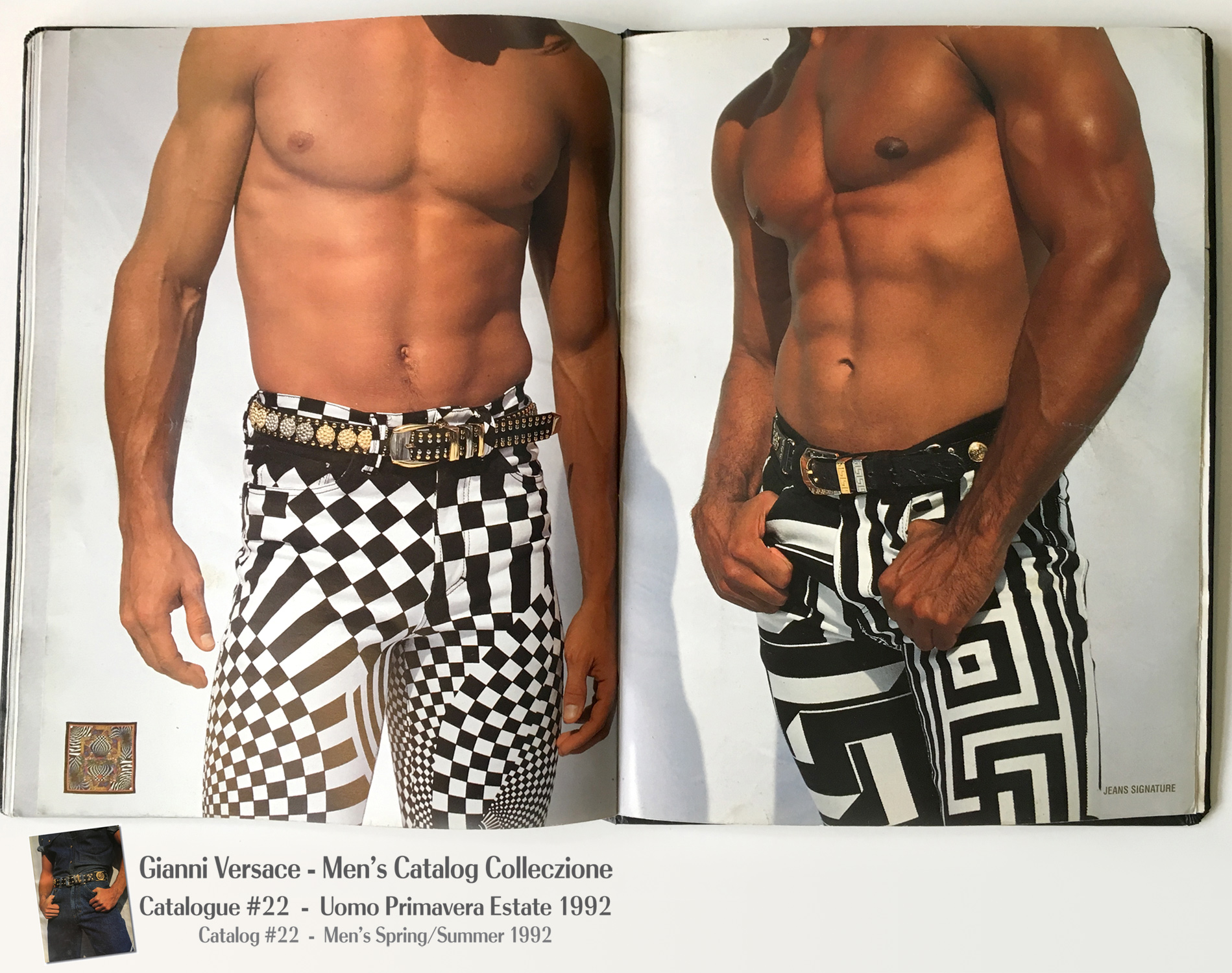 Nude Male Model Jeans Muscles shirtless A Page Selection from Gianni Versace Men's Uomo Catalog Catalogue #22 – Spring/Summer Primavera Estate 1992