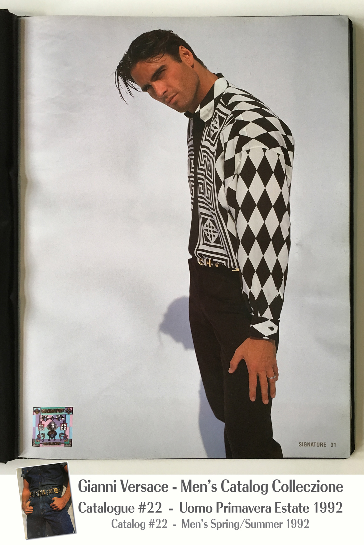 Black White Geometric Pattern Shirt Greek Key Harlequin A Page Selection from Gianni Versace Men's Uomo Catalog Catalogue #22 – Spring/Summer Primavera Estate 1992