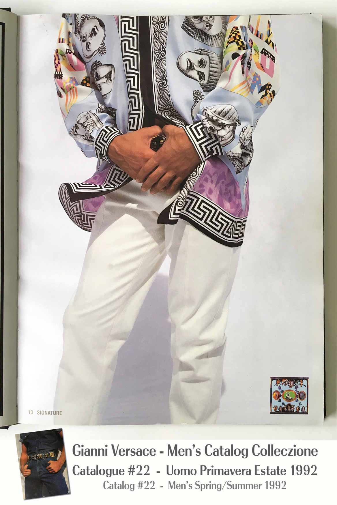 Canova Silk Shirt Scarf Masks Cinema Print Greek Key A Page Selection from Gianni Versace Men's Uomo Catalog Catalogue #22 – Spring/Summer Primavera Estate 1992