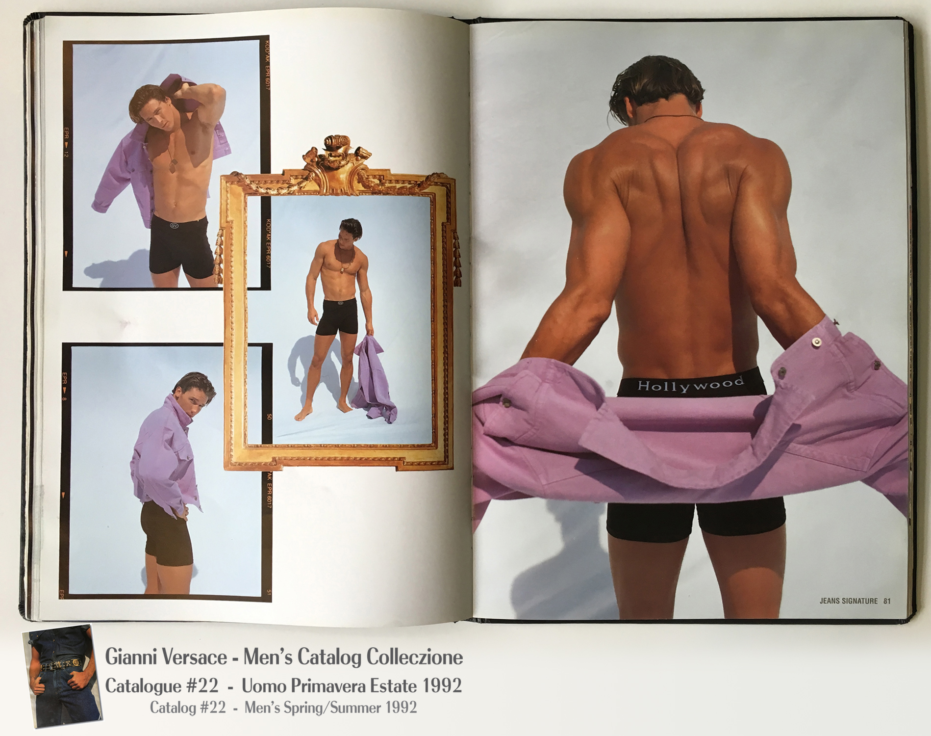 Nude Male Model Underwear Muscles shirtless A Page Selection from Gianni Versace Men's Uomo Catalog Catalogue #22 – Spring/Summer Primavera Estate 1992