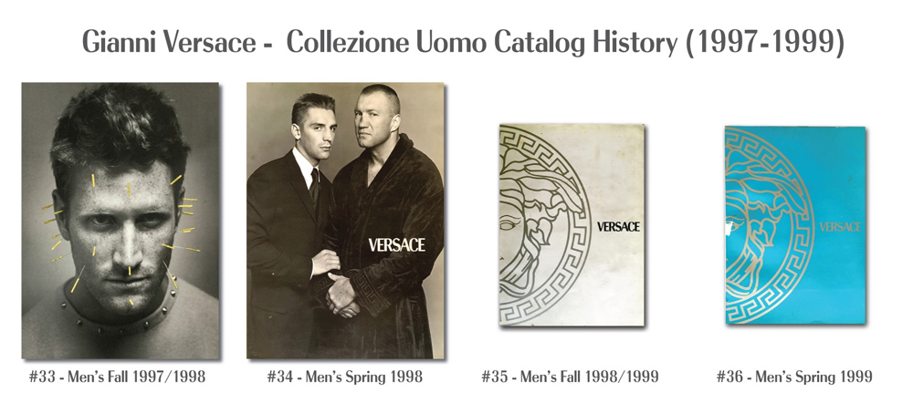 Gianni Versace Fashion Catalog Covers History Uomo from 1997 to 1999 Models Photography