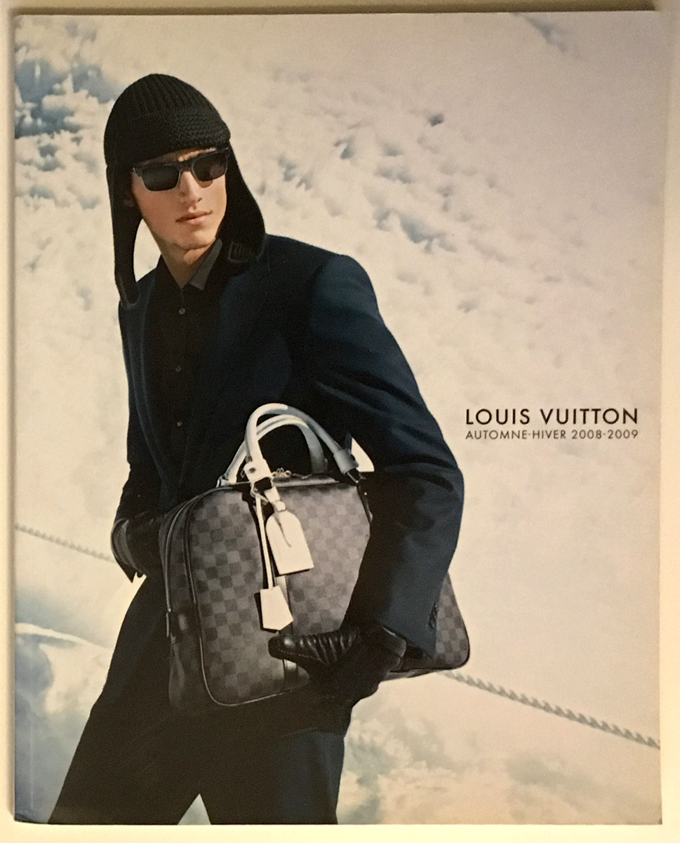 Louis Vuitton Paris Fashion Catalog Fall Winter Pret a Porter Ready to Wear RTW Cover Automne - Hiver Marc Jacobs Men Homme 2008- 2009 Beanie Hat Damier Graphite Canvas White Leather