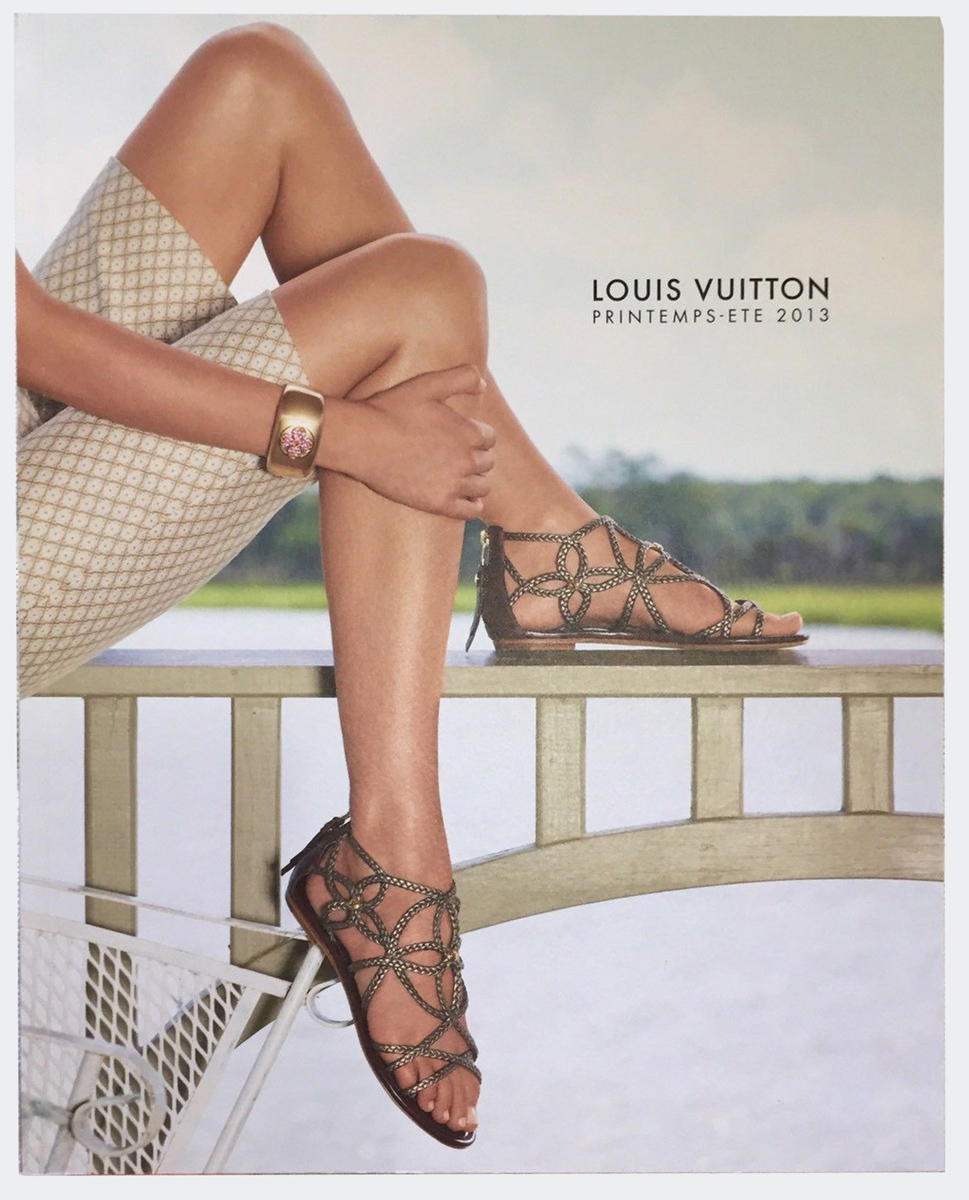 Louis Vuitton Fashion Catalog Spring Summer Men Women RTW Cover Printemps Ete Paris Marc Jacobs 2013 Kilim Sandals in Metalic Leather Logo Flower