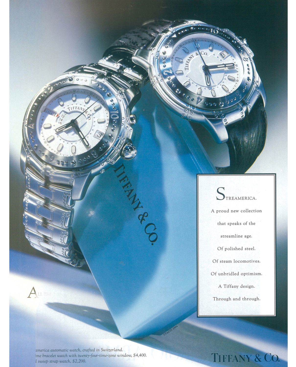 Original advertisement 1993 from Tiffany & Co. Streamerica Stainless steel World Time Automatic Watch, and Automatic Chronometer with leather band.