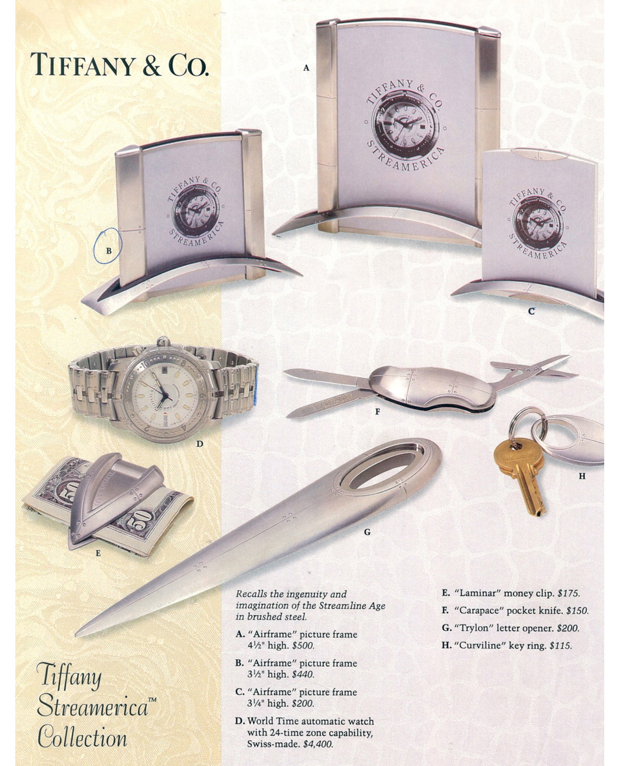 • Yamrun jewelers Tiffany Streamerica Collection 1993 Stainless Steel Airframe Picture Frames World Time Automatic Watch Carapace Pocket Knife Laminar Money Clip, Trylon Letter Opener, and Curviline Key Ring, all with 1993 prices.