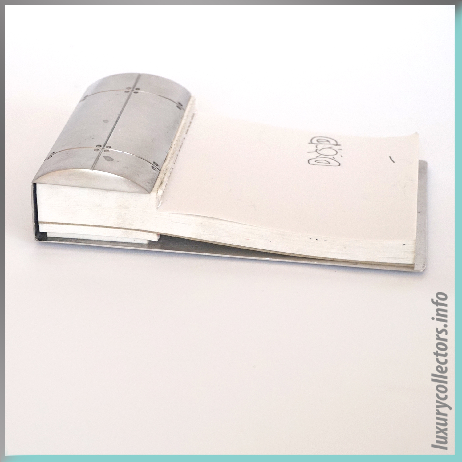 Business Note Pad Memo Paper Holder Tiffany & and Co. Streamerica Sterling Silver Collection 2002 .925 Side view Used